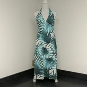 Tommy Bahama Green Waving Palms Halter Dress Sz Lg